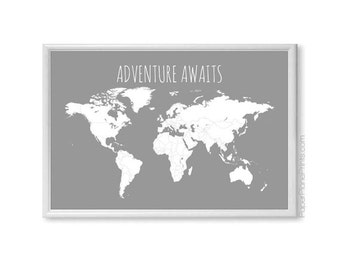 Travel maps pin maps world maps usa map by paperplaneprints sale price world map adventure awaits map first anniversary gift for him gumiabroncs Gallery