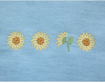 Sunflower machine embroidery patterns, 2 resizeable patterns included, instant download