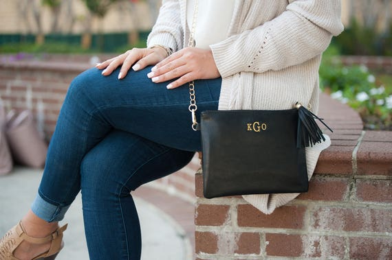 Monogrammed Crossbody Clutch / Purse - Black