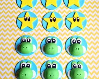12 Fondant Mario theme cupcake toppers