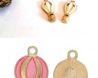 4 thin and pretty hot air balloon gold tone enameled pink or white, to choose from, 22x10mm