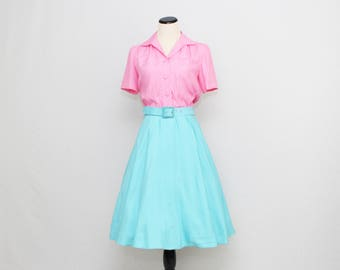 50s Cotton Candy Shirt Dress - Size Medium Vintage 1950s Button Down Belted Day Dress