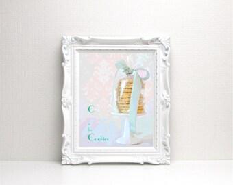 C is for Cookies Digital Art Print - Bakery, Typography, Alphabet, Instant Download, Printable Cookie Art, Nursery Art, Home Decor, Dessert