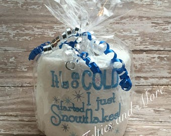 Embroidered Toilet Paper, Secret Santa Gift, Gag Gift, White Elephant Gift, Bathroom Decor, Funny Gift, Christmas Gift, Holiday, Office Gift