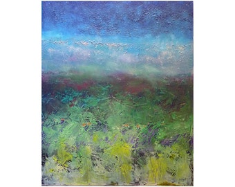 original abstract landscape painting Blue green yellow impasto field Sky  Vertical Contemporary Artwork Textured Colorful gift for women men