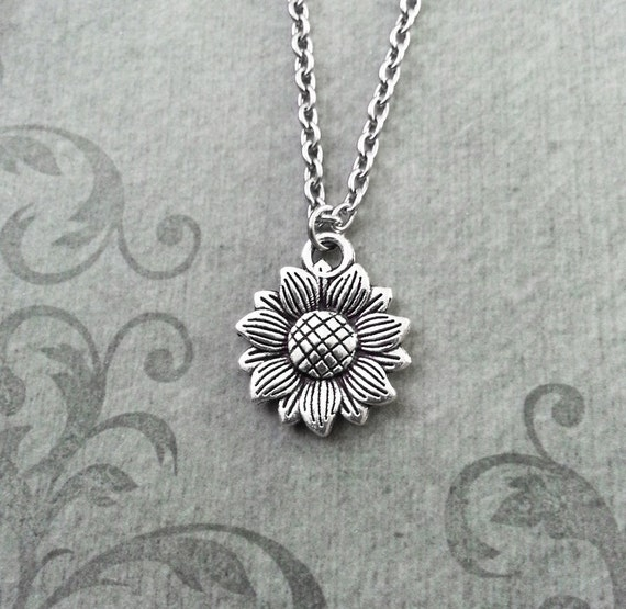 Sunflower necklace small sunflower jewelry sunflower pendant aloadofball Image collections