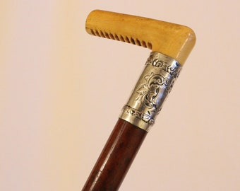 Antique Ladies Malacca Cane Victorian Walking Cane circa 1890 with carved handle