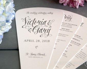 Wedding Program Fans 4 Blade Petal Programs, Satin Ribbon - Customizable Elegant Programs - Summer Wedding Custom Colors SS12 (150 & Up)