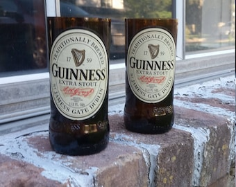 Set of 2 upcycled Giunness Stout glasses