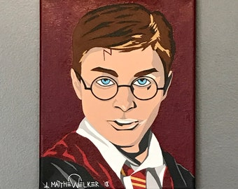 "8""x10"" ORIGINAL ""The Wizarding World of Harry Potter"" acrylic pop art painting - Daniel Radliffe JK Rowling magic wizard book movie HP"