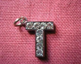 Sterling Silver letter T rhinestone