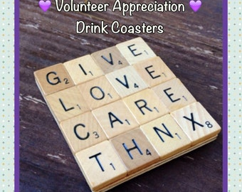 VOLUNTEER APPRECIATION, Drink Coaster, Free Personalization, Thank You Gift for Volunteers, Appreciation gifts,