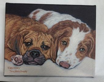 CustomDog Portrait, 2 in 1 11x14 Pet Portrait,  Painted Pet Portraits, Dog Portrait Custom, Acrylic Painted Portrait