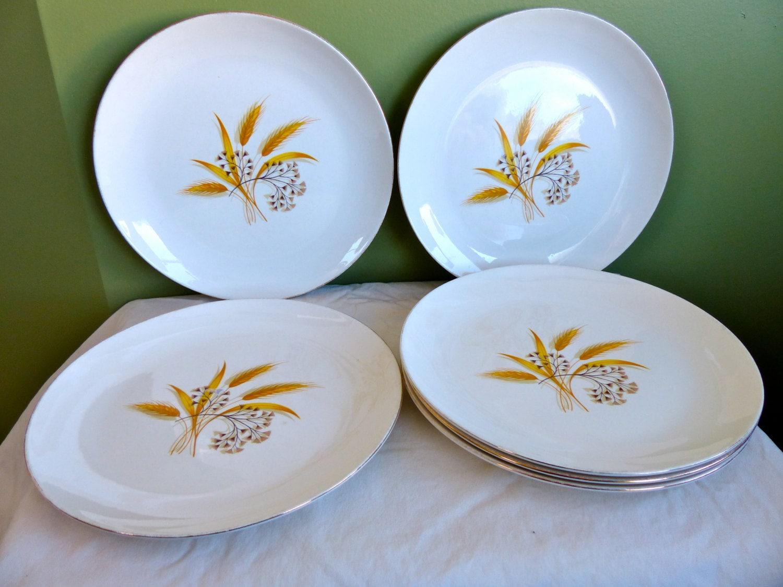 gallery photo gallery photo gallery photo & Set of 5 Rhythm by Homer Laughlin Dinner Plates-Vintage-Golden Wheat ...