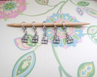 Set of 5 Silver Double Sided Castle Snag Free Knit Markers, Knitting Markers, Progress Marker, Knitting Notions, Fits up to 8 mm or US 11