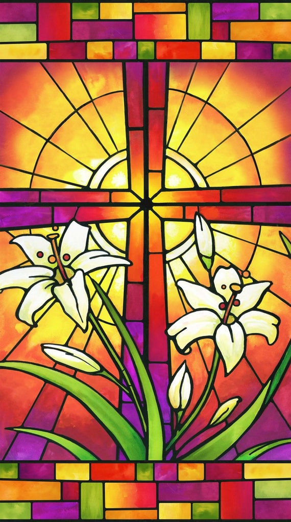 Northcott Rejoice Fabric Panel Easter Cross Lilly Religious Reds and Pink Ombre Stained Glass