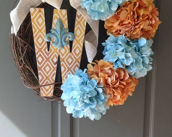 Custom letter W wreath.