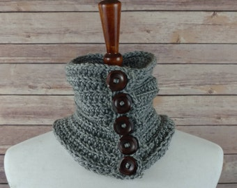 Fine Ribbed Neck Warmer Cowl in Grey with 5 Wooden Buttons. For Men and Women. 100% Acrylic, Hypoallergenic.