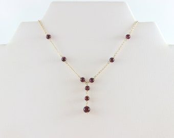 """14k Yellow Gold Natural Purple Amethyst Bead Lariat Necklace 17 1/2"""" Chain"""