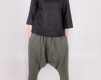 LINEN HAREM pants trousers yoga pants