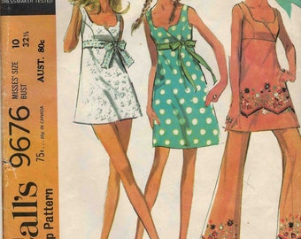 """McCalls 9676 Bathing suit beach dress with crossover bodice empire waist and bell bottom pants Size 10 Bust 32"""" Vintage c.1969"""