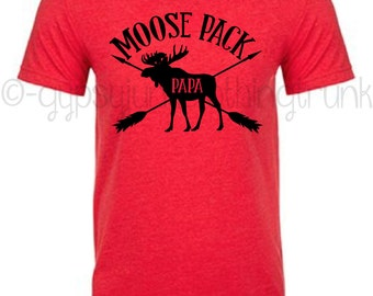 Moose Shirt - Papa Moose Shirt - Red Papa Moose Shirt - Moose Matching Shirts - Family Outfits - Gifts for Dad - Moose Top for Men
