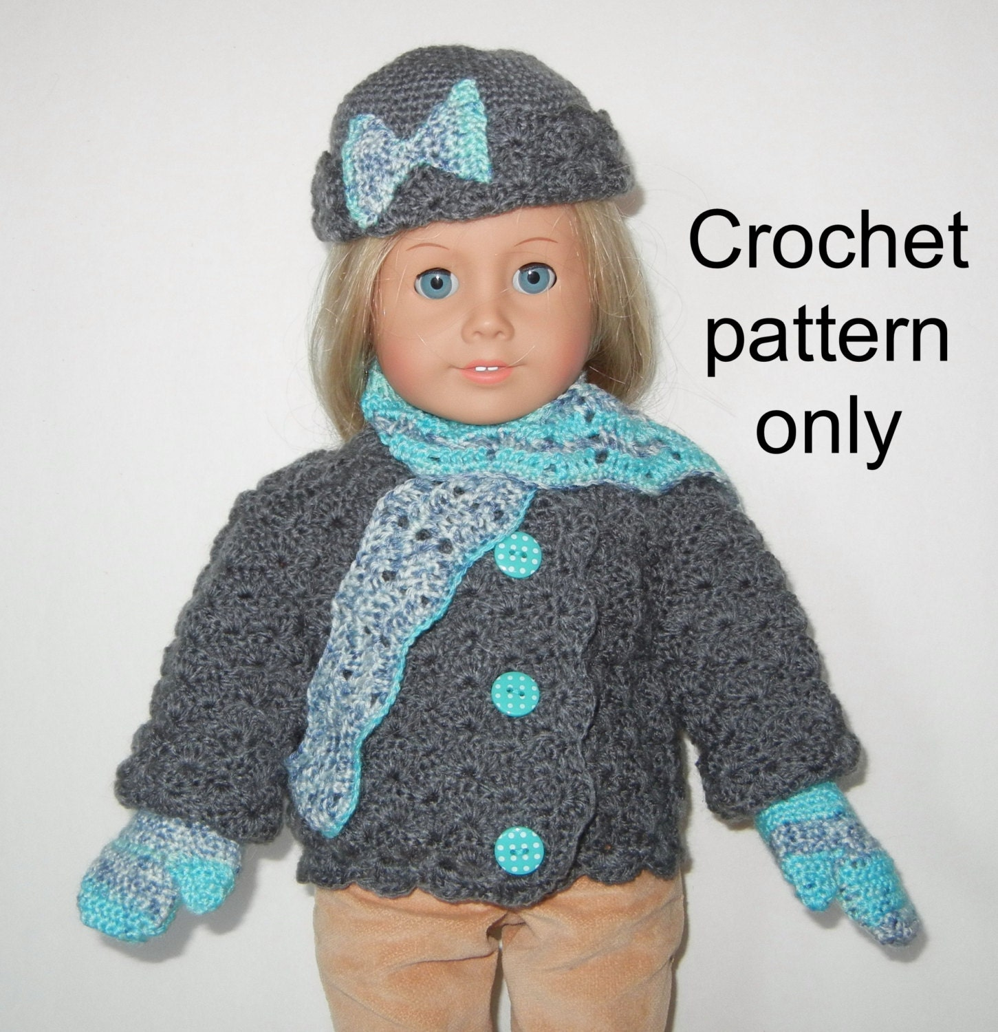 Crochet pattern PDF for 18 inch child doll American Girl
