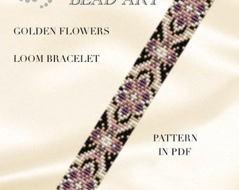 Bead loom pattern - Golden/aqua flowers LOOM bracelet PDF pattern instant download