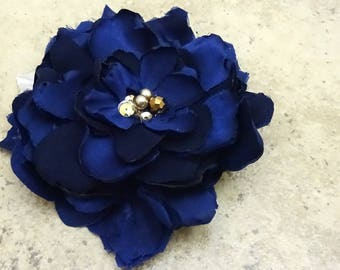 Navy Blue Flower Hair Comb, Gold Dark Blue Copper Beaded Floral Hair Clip, Something Blue Wedding Bridal, Goth Gothic Victorian- CLARISSA