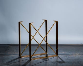 "BRASS/BRONZE Powder Coat Finish - Metal Dining Table Legs, ""U"" Shaped Steel Table Legs with ""X"" Steel Rod Cross Pieces-"