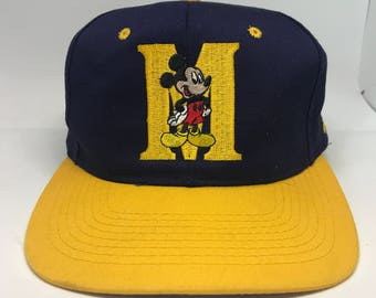 VTG 90s Mickey Mouse Navy and Gold Snapback hat