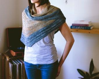 Laylow Shawl Knitting Pattern Modern Reversible Crescent Textured PDF