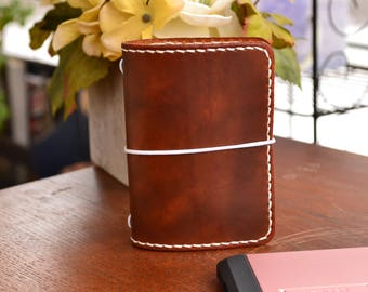 """Wallet Western Plus Leather Travelers Notebook Cover, 7"""" x 4.5"""" Flat Full Grain Leather, TN  leather, handmade midori style"""