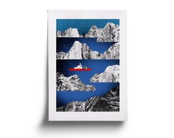 Arctic ship. Original illustration art poster giclée print. FREE SHIPPING!