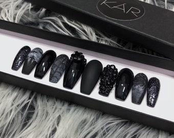 The BLACK GRAVEYARD press on gel nails set • false nails • fake nails • press ons • nails • gel nails • falsies • gel manicure •