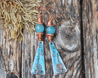 Those Summer Days-Painted Copper Earrings,Handmade Earrings,Handmade Jewellery,Artisan Earring,OOAK