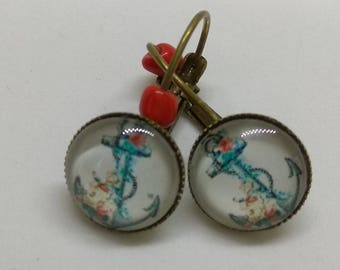 Bronze earrings, glass cabochon, stylised anchor