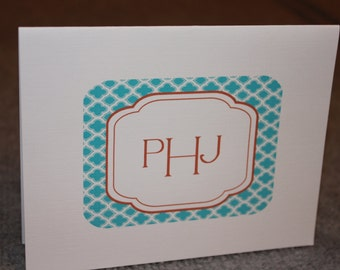 12 personalized notecards - monogram