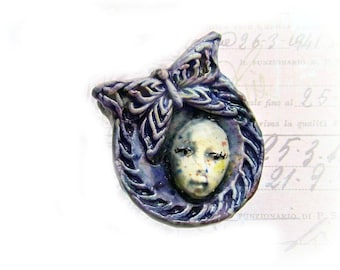Ceramic OOAK bead - Art bead - Artisan bead - artist clay bead - handmade art bead -  Ceramic bead -  # 21