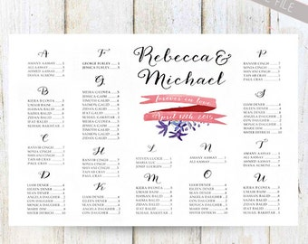 Alphabetical Wedding Seating Chart - Printable Customized Vintage Floral Seating chart poster - DIGITAL file!