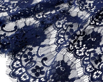 Soft lace fabric in Dark Navy Blue x50cm polyester