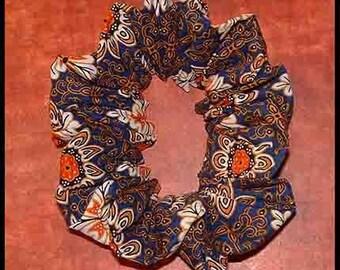 Moroccan Style Tile Hair Scrunchie, Exotic Batik Fabric Ponytail Holder, Hair Tie