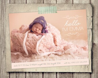 Printable Birth Announcement - Mod Hello Baby Announcement - Soft Pink New Baby Photo Announcement - Newborn - 5x7 - Personalized for FREE