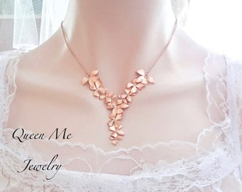 Rose gold orchid necklace, Brides rose gold necklace, Cascading orchid necklace, Destination wedding jewelry ~ Beach wedding jewelry