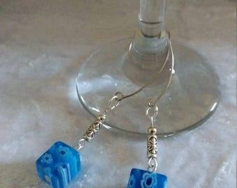 Blue flower Millefiori glass cube long drop earrings. Long drop earrings. Blue earrings. Cube earrings. Glass earrings