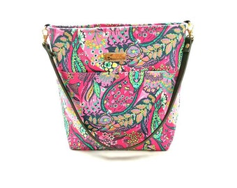 Pink Paisley Shoulder Bag with Leather Strap - 8 pockets