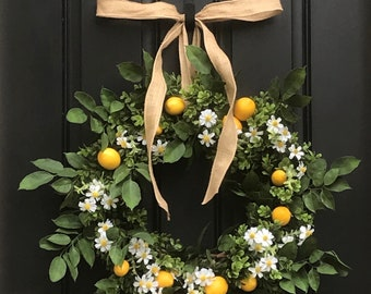 Summer Lemon Wreaths, White Daisy Wreaths, Boxwood Wreath with Lemons, Summer Porch Wreath, Farmhouse Lemon Wreath, Summer Front Door Wreath