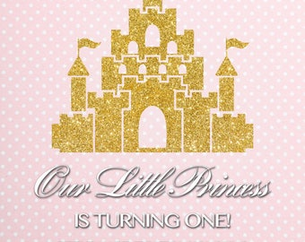 Custom Princess Castle Birthday Backdrop Background Event Photo Booth (Multiple Sizes & Materials Available)