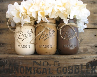 ON SALE NOW!!  Set Of 3 Pint Mason Jars, Mason Jars, Rustic Home Decor, Country Home Decor, Dark Brown Light Brown & Creme Mason Jars