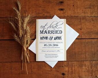 Wedding Invitation, Wedding Invite, Invitation Set, Wedding Invitation Set, Eat, Drink and be Married, Fall Wedding, Chevron, Gold and Navy
